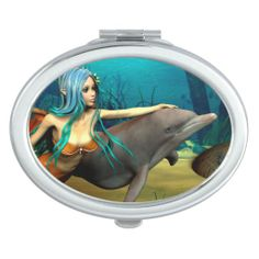 #Mermaid and #Dolphin Oval #Compact #Mirror