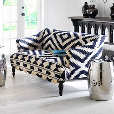 blue and white ikat print couch | HAMPTONS STYLE