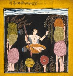 Goda Raga. Ragamala, Opaque watercolour on paper, Kulu or Bahu, ca. 1700-1710, Victoria and Albert Museum, London, an ascetic with a vina seated cross-legged against a dark brownish background, with stylised trees around three edges of the painting, illustration to the musical mode goda raga. He wears a striped orange dhoti with all-over floral design, and his body is marked with orange stripes.