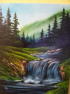 Lower Falls paintwithvicki.com Bob Ross had a similar painting with mountains in back. Waterfall Paintings, Scenery Paintings, Mountain Paintings, Nature Paintings, Peintures Bob Ross, Landscape Art, Landscape Paintings, Beautiful Paintings Of Nature, Wet On Wet Painting