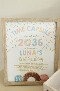 Love this time capsule idea for a first birthday party. A donut themed first… Love this time capsule idea for a first birthday party. A donut themed first birthday party. Ideas to help you plan the perfect first birthday for your little one! First Birthday Theme Girl, 1st Birthday Party Themes, One Year Birthday, Donut Birthday Parties, Birthday Ideas, Girl 1st Birthdays, First Birthday Games, Donut Party, Birthday Photos