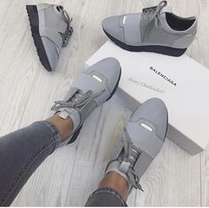 Balenciaga Cute Grey Sneakers / Only Me 💋💚💟💖✌✔👌💙💚 xoxo Dr Shoes, Crazy Shoes, Cute Shoes, Me Too Shoes, Shoes Sandals, Cute Sneakers, Shoes Sneakers, Tennis Sneakers, Grey Sneakers