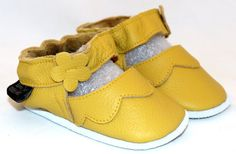 Hand Made Leather Baby Shoes Yellow Mary Janes soft by minitoes