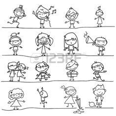 ruční kresba karikatura šťastné děti hrají Reklamní fotografie