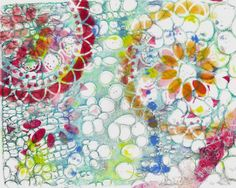Gelli Plate prints with StencilGirl stencils by Cath Sheard