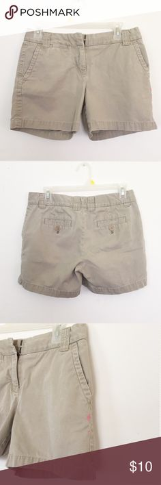 J. Crew Chino Shorts Style: Weathered • Fit: City Fit • Material : Classic Twill 100% cotton • These shorts are pre-loved and just happen to no longer fit. Small pink paint stain as shown in last photo J. Crew Shorts