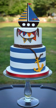 Beautiful Cake Pictures: It's a Boy Themed Cake - Baby Shower Cakes, Birthday Cake, Colorful Cakes, Themed Cakes - Beautiful Cake Pictures, Beautiful Cakes, Amazing Cakes, Nautical Cake, Nautical Theme, Sailboat Cake, Beach Cakes, Dream Cake, Colorful Cakes