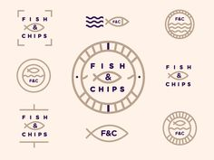 Fish & Chips // Logomark Exploration designed by MadeByStudioJQ. Connect with them on Dribbble; Fish And Chips Menu, Fish And Chips Restaurant, Menu Restaurant, Ship Logo, Fish And Chip Shop, Chips Brands, Fish Finger, Hand Drawn Logo, Fish Logo