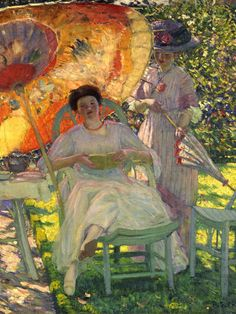 The Garden Parasol (c. 1910), detail. Frederick Carl Frieseke (American Impressionist, 1874-1939). Oil on canvas. North Carolina Museum of Art. The Garden Parasol evokes the serene pleasure of a summer in the French countryside. The setting is the garden of the Friesekes' house at Giverny, close to the home and gardens of the venerable impressionist painter Claude Monet. The seated woman is the artist's wife, Sadie, and the garden was her special creation. Frieseke depicts her as ...