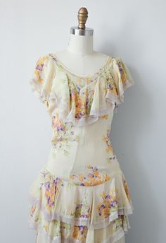 1930's Tiered Floral Spring Dress #1930s #adoredvintage #vintagedress
