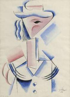 Josef Čapek (Czech, 1987 - 1945) KUBISTISCHE FRAU 1914 (CZECH AVANTEGARDE ART - The Group Tvrdošíjní - The Stubborn)