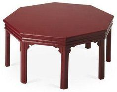 Rowe Chinoiserie Octagon Carved Edge Coffee Table, Oxblood Dark Red -- Framed in rubberwood with cherry veneer and a glossy burgundy hue, this octagon-shaped side table provides a vibrant, sleek base for stacking plants, objets, and cocktails. Detailed with fluted molding and notched corners for a splash of Chinoiserie-inspired elegance.