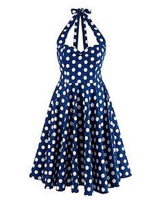 Hell Bunny Polkadot Halterneck Dress   Simply Be