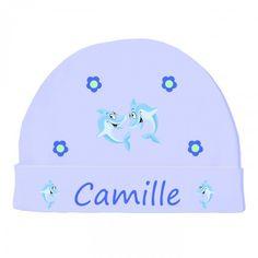 Bonnet #naissance, #vetement #bébé dauphin bleu - liste maternité http://www.bebe-abord.com/bonnet-de-naissance-personnalise/312-bonnet-bebe-ourson-personnalise.html