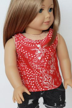 18 Inch Doll Red White Print Placket Woven Tank by Closet4Chloe, $9.50