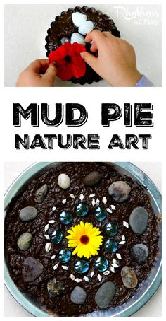 Mud pie nature art sensory activity is a fun outside activity that provides several valuable learning experiences for the developing child. It's outside play, process art, nature art, and a fun sensory activity all in one!