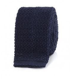 Navy Knitted Silk Solid Colour Tie | Drake's