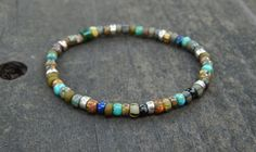 Earthy Silver Layering Bracelet Tiny Beaded by GenuineTwinkie