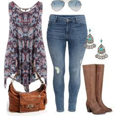 polyvore+plus+size+style   fashion look from August 2013 featuring H&M jeans, Frye shoulder ...