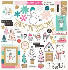 Crate Paper - Snow and Cocoa Collection - 12 x 12 Chipboard Stickers - Icons