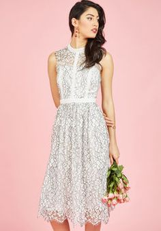 Ethereal Enlivening Midi Dress in White