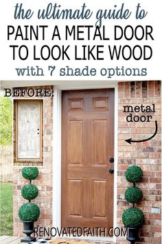 Tired of having an ugly metal or fiberglass front door? The entrance of your home is the first impression which makes painting wood grain on a steel door a budget-friendly way to upgrade - if it's done right! This easy step-by-step tutorial with video will show you how to make a metal door look like stained wood with latex paint samples and glaze! This process is also great for interior doors, fiberglass doors and even garage doors. Also, you can apply a more rustic farmhouse other shades Door Redo, Make A Door, Painted Exterior Doors, Painted Front Doors, Painting Metal Doors, Diy Painting, Home Renovation, Paint Steel Door, Fiberglass Garage Doors