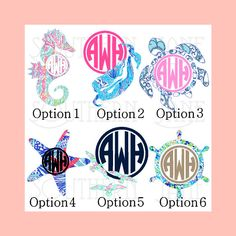 Beachy Lilly Pulitzer Inspired Summer Decal Stickers 6 Options Seahorse Mermaid Sea turtle Starfish Seagulls Wheel With Monogram by SouthernJaneGraphics on Etsy