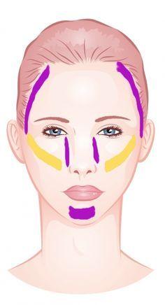 Herzförmiges Gesicht ausgleichen: Dunklere Foundation neben Stirn und Nase verschmälern, Wangenknochen sanft betonen