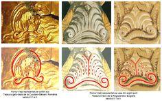 Pe coiful de la Cucuteni-Băiceni, Pomul Vieţii este figurat prin palmetă, într-o reprezentare similară celei prezentă în ornamentica vaselor din argint aurit care alcătuiesc tezaurul atribuit tracilor, descoperit la Rogozensko, Bulgaria, datat în secolul al IV-lea î.e.n. Lion Sculpture, Statue, Cards, Maps, Playing Cards, Sculptures, Sculpture