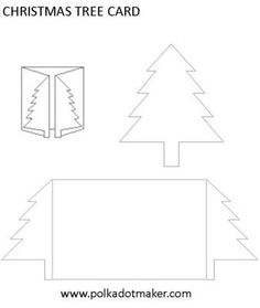 Christmas Tree Card Template Set: A quick, easy Christmas tree card to make.   Print the template on coloured card stock - red, blue, purple, green, whatever you choose. Cut out on solid