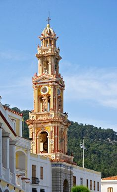 """Monastery Bell Tower by Carschten (Stock) by ~TandPs-ArtResources on deviantART Original English Description: """"The bell tower of the Greek Orthodox monastery """"Archangel Michaël"""" in Panormitis on the island of Symi, Greece."""""""