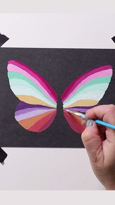 Gouache Rainbow Butterfly on black paper Gouache Rainbow Butterfly on black paper Josie Lewis Art josielewisart Rainbows Boy do I love gouache on black paper It s nbsp hellip Painting videos Art Sketches, Art Drawings, Gouche Painting, Painting & Drawing, Painting Videos, Rainbow Butterfly, Butterfly Painting, Rainbow Painting, Black Paper