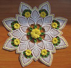 Yellow Rose of Texas Doily by Maggie Petsch Crochet Flower Patterns, Crochet Art, Crochet Home, Thread Crochet, Irish Crochet, Crochet Motif, Crochet Designs, Crochet Crafts, Crochet Flowers