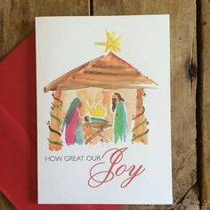 Nativity Watercolor Christmas Card A6 notecard (4.5 x 6.25) created from my…