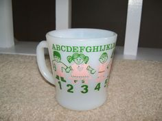 RARE Fire-King ABC 123 CHILDREN Coffee Mug Green & Pink Vintage OVEN PROOF