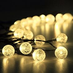 Solar Outdoor String Lights 30 Led Warm White Crystal Ball Christmas Globle Fo Garden Path Party