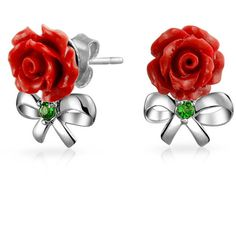 Bling Jewelry Bows and Roses Studs (1.060 RUB) ❤ liked on Polyvore featuring jewelry, earrings, red, stud-earrings, earring jewelry, red earrings, rose stud earrings, red rose jewelry and rose jewellery