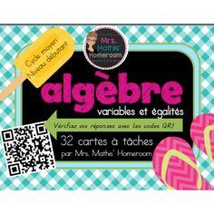 Algèbre: variables et égalités, cartes à tâches (Algebra Task Cards in French)