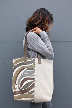 Handmade Vintage Mid-Century and Irish Linen Tote Bag - The River Flow Tote Bag