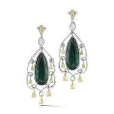 Fine emerald and diamond earring by TAKAT