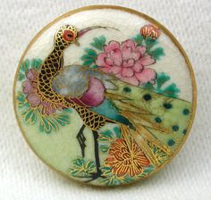 """Antique Meiji Satsuma Button Colorful Detailed Peacock w/ Gold Accents - 15/16"""""""