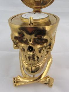 Verge Fusee Skull Clock made of bronze for the Imperial Russian market circa 19th Century. There is a special spring mechanism; when the jawbone is pressed down it opens the case and the hidden watch appears.