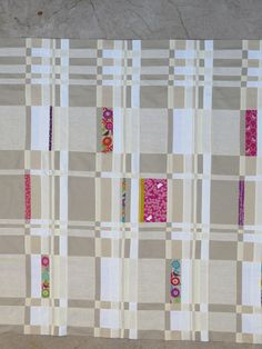 Not so Twin Strips Quilt by Jibberish Designs,  love the grays and the little pops of colors