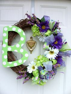 """Monogram Initial Letter Spring Wreath with Flowers EXAMPLE 18"""" wreath form. $75.00, via Etsy."""