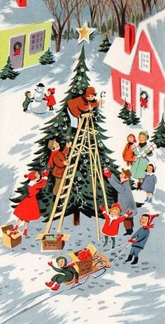 Vintage Christmas card - Christmas tree - town village - snow - decorating - mid century modern