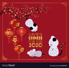Happy chinese new year 2020 with lanterns and vector image on VectorStock Chinese New Year 2020, Happy Chinese New Year, Year Of The Rat, Single Image, Cherry Blossom, Adobe Illustrator, Lanterns, Vector Free, Web Design