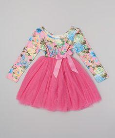 This Hot Pink Floral Long-Sleeve Tutu Dress - Infant, Toddler & Girls by Designer Kidz is perfect! #zulilyfinds