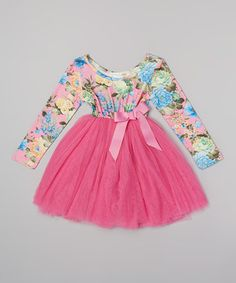 This Hot Pink Floral Long-Sleeve Tutu Dress - Infant, Toddler & Girls by Designer Kidz is perfect! #zulilyfinds