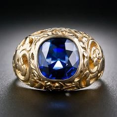 2.74 Carat 'Natural-No Heat' Sapphire Antique Ring - Exceptionally beautiful stone - 30-3-4970 - Lang Antiques
