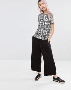 d1d46b13da5b2 graphic t shirt black and white print   wide leg cropped pant   clean    confident
